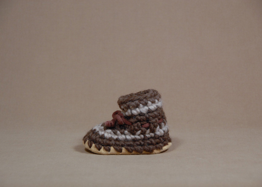 Padraig Cottage Baby Slippers Brown Stripe Size B7