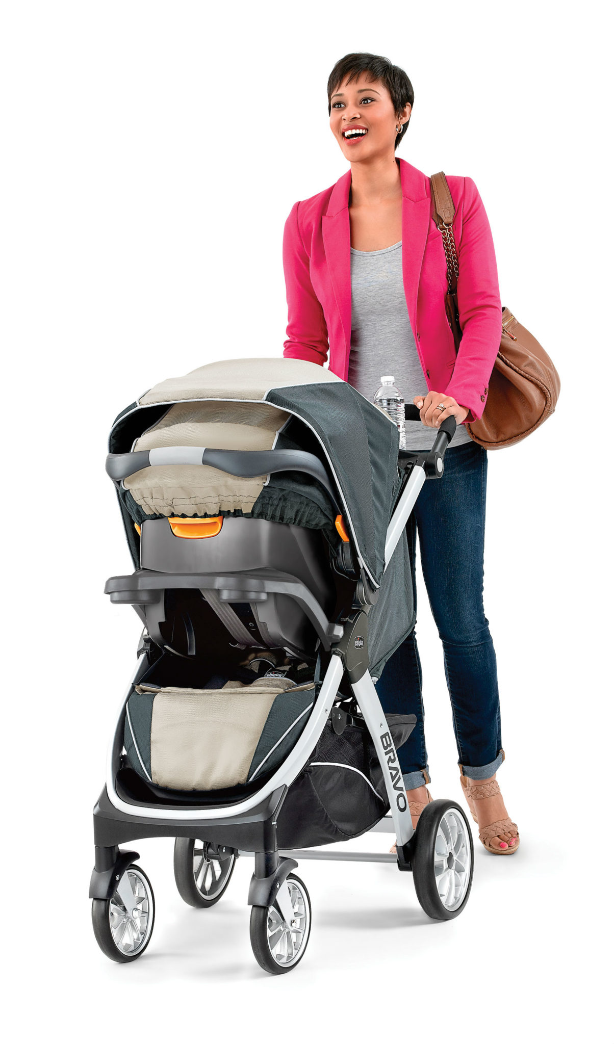 Chicco Bravo Trio System With KeyFit 30 Infant Car Seat Champagne